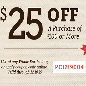 $25 Off at Whole Earth Provision Co.